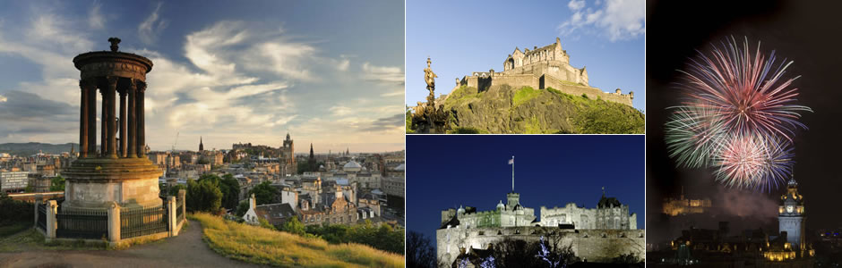 Header photo showing various shots of Edinburgh